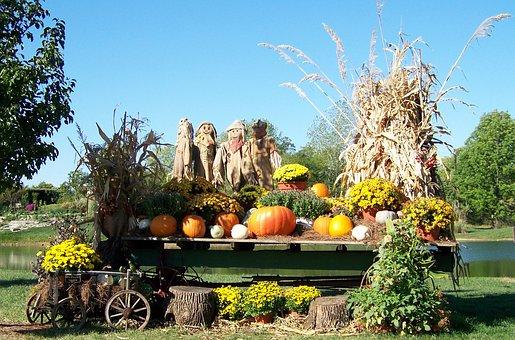 Autumn, Fall, Pond, Scarecrows, Pumpkins, Cornstalks