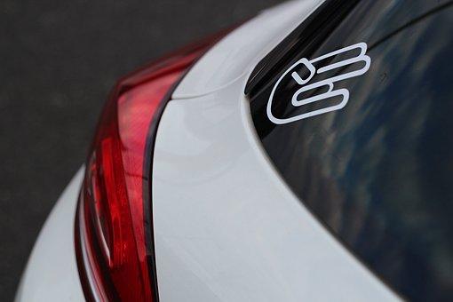 Back Light, Auto, Vehicle, Red, Sticker, White
