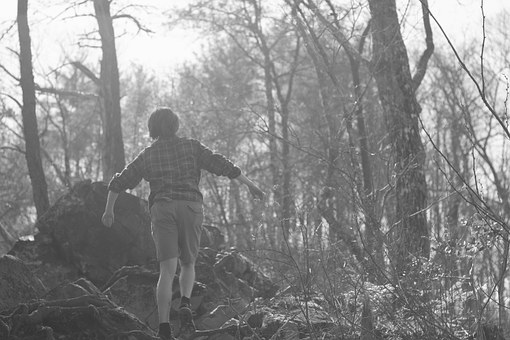 Boy, Lost, Forest, Black And White, Trees, Mountain