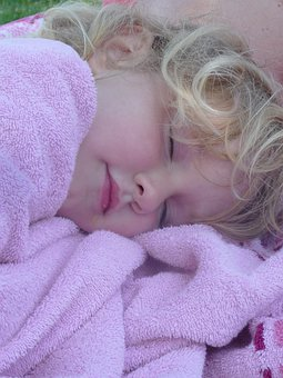 Girl, Child, Sleep, Towel, Mouth, Pink, Blond, Lure