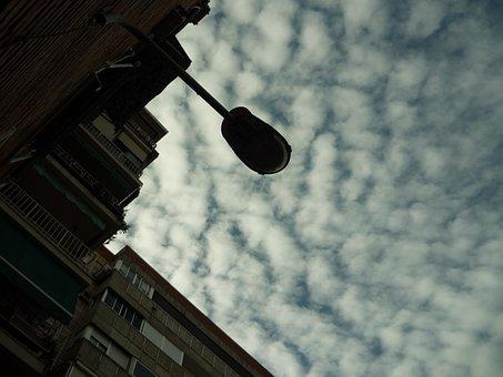 Street Lamp, Arm, Luminary, Sky, Clouds, Contrast, City