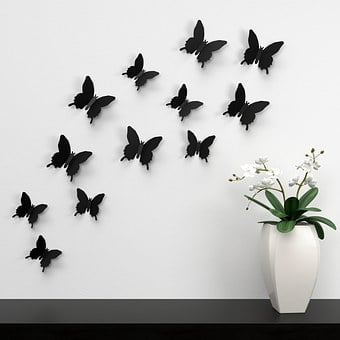 Butterfly, Wall, Decoration, Color, Paper Decoration