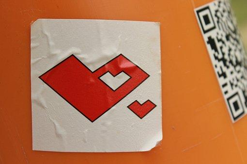 Heart Sticker On Dustbin, Red, White, Cut Out Heart