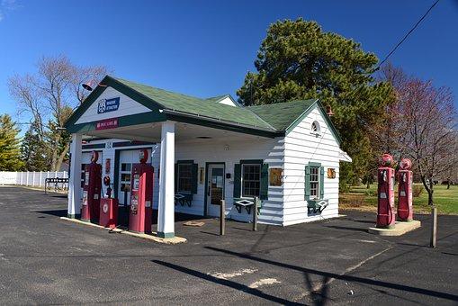 Route 66, Illinois, Dwight, Gas Station, Landmark