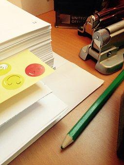 Office, Pencil, Desktop, Sticker, Paper, Folios, Work