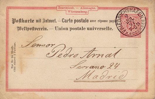 Postcard, Old, Nostalgia, Germany, Stamp, 1897, Font