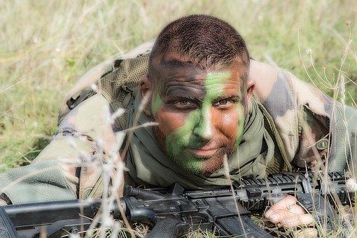 Military, Hideout, Uniform, Army, Gun