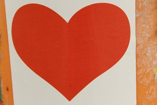 Heart Sticker Red, White, Red White, Love