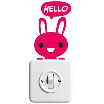 Sticker, Hare, Hello, Light Switch, Funny
