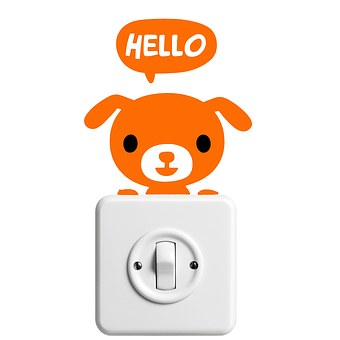 Sticker, Dog, Hello, Light Switch, Funny, Welbe