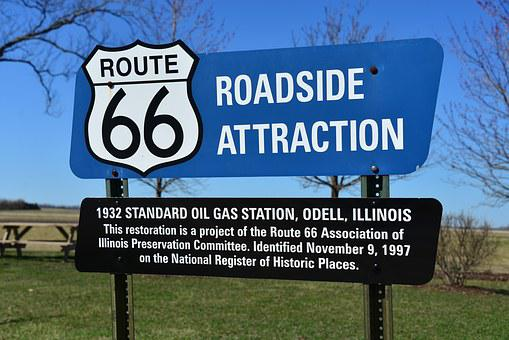 Route 66, Illinois, Odell, Highway, Road Sign, Road