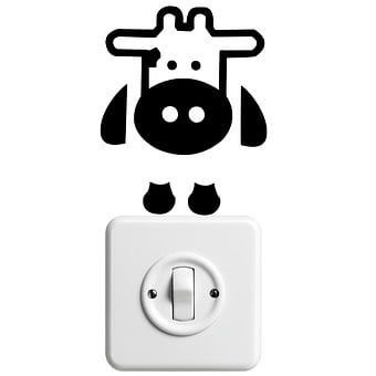 Sticker, Cow, Hello, Light Switch, Funny
