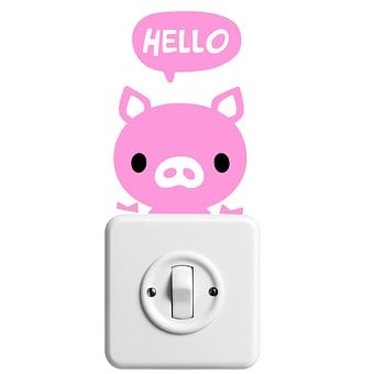 Sticker, Pig, Hello, Light Switch, Funny