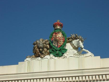 Royal, Emblem, Figurine, Statue, England, Lion, Unicorn