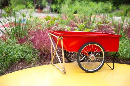 Red Wheel Barrow, Wheelbarrow, Gardening, Nature, Green