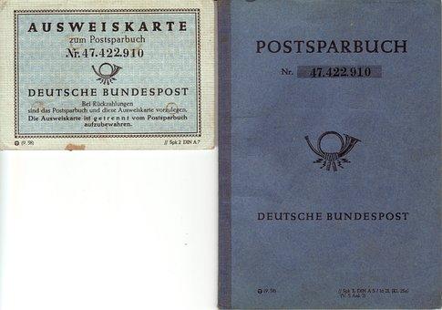 Savings Book, Post, Vintage, 1958, Germany, Old Paper