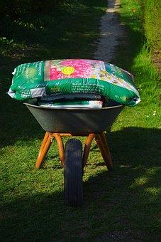 Wheelbarrow, Garden, Gardening, Potting Soil, Earth