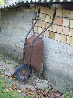 Wheelbarrow, Garden, Házfal, Autumn, Rust, Brick