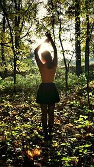 Woman, Sexy, Erotica, Act, Art, Forest, Sun, Nudity