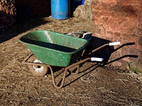 Wheelbarrow, Farm, Stableyard, Green, Barrow, Farmer