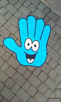 Hand, Pud, A Smile, The Hand, Sticker, Street, Eyes