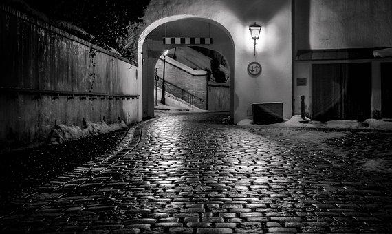 Night, Cobblestone, Path, Road, Street, Architecture