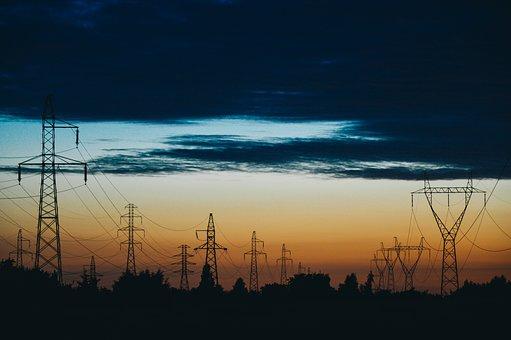 Power Lines, Electricity, Dusk, Sunset, Energy