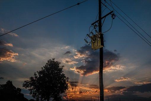Power Line, Electricity Transformer, Sunset, Sundown