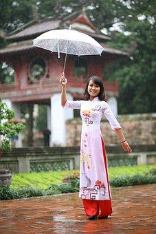 Girl, Umbrella, Asian, Rain, Woman, Happy, Asia, Joy
