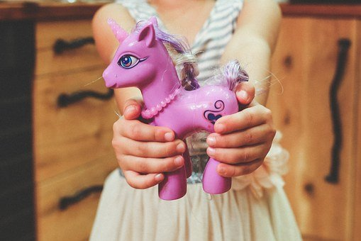 Toy, Unicorn, Horse, Purple, Child, Kid, Hands, Hold