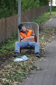 Rest, Sleep, Humor, Lunch, Rullebör, Wheelbarrow, Work