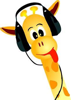 Giraffe, Yellow, Animal, Music, Event, Note, Sticker