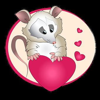 Rodent, Hearts, Possum Mammal, Cartoon, Cute, Animal