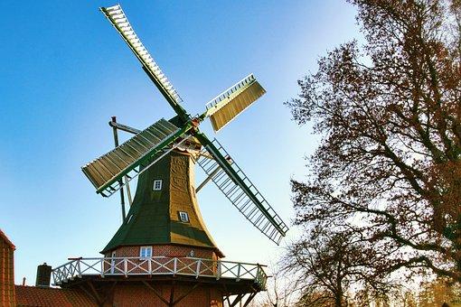 Windmill, Building, De Lütje Anja, Museum, Architecture