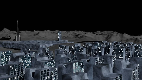 Buildings, Extraterrestrial, Moon, Moon Base, City