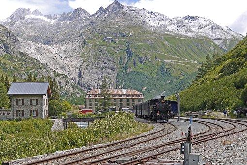 Steam Train, Railway, Mountains, Town, Buildings, Train
