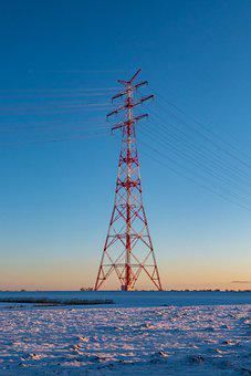 Transmission Tower, Cables, Winter, Snow, Power Line