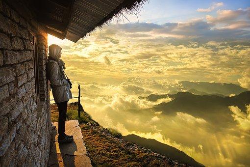 Hut, Man, Sea Of Clouds, Clouds, Peak, Mountain, Sky