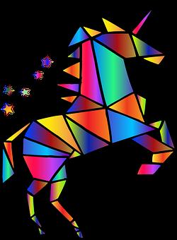 Unicorn, Polygons, Rainbow, Colorful, Prismatic