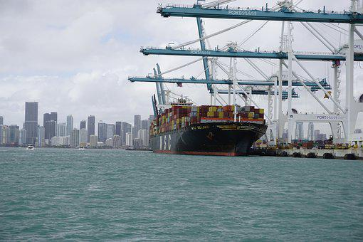 Port, Harbor, Miami, Ship, Container