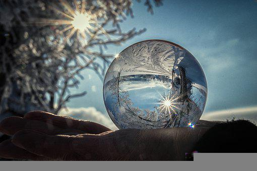 Lensball, Winter, Landscape, Reflection, Glass Ball