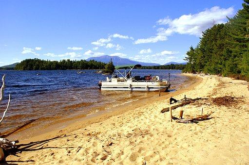 Maine, Lake, Beach, Mountain, Scenery, Landscape