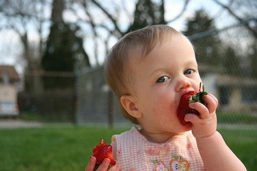 Strawberries, Messy, Baby, Eating, Kid