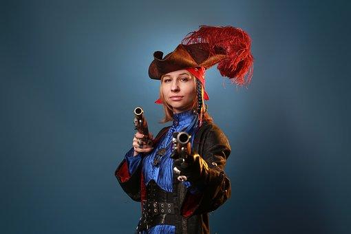 Woman, Model, Portrait, Costume, Pirate, Sailor