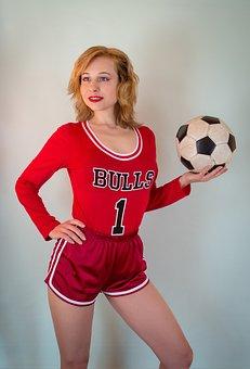 Woman, Model, Portrait, Football, Sports, Girl, Soccer