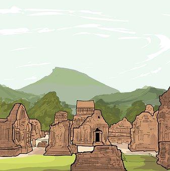 Ruins, Mountains, Sky, Vietnam, Myson, World Heritage