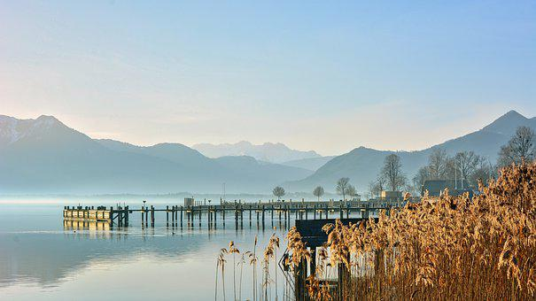 Lake, Jetty, Mountains, Fog, Mist, Reed, Grass, Pier