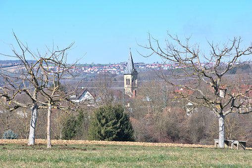 Town, Field, Trees, Park, Church, Bell Tower, Landscape