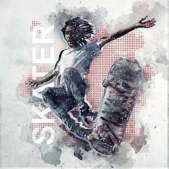 Skateboard, Man, Photo Art, Action, Balancing, Boy