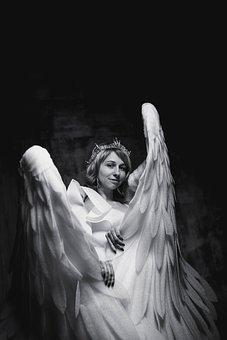 Woman, Portrait, Model, Costume, Angel, Wings, Girl